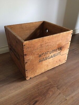 Antique Vintage Solid Wood Timber Meadow Lea Margarine Dairy Food Crate Box