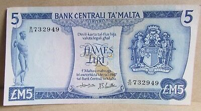 1967 + Central Bank of Malta £M5 Five Pound Banknote