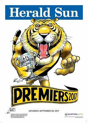 2017 Grand Final AFL PREMIERSHIP Poster RICHMOND TIGERS Mark Knight HERALD SUN