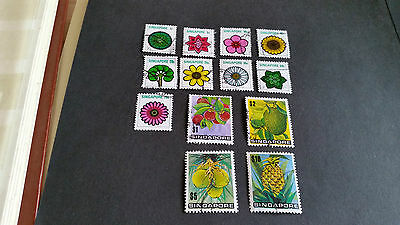 Singapore 1973 Sg 212-224 Flowers And Plants Used