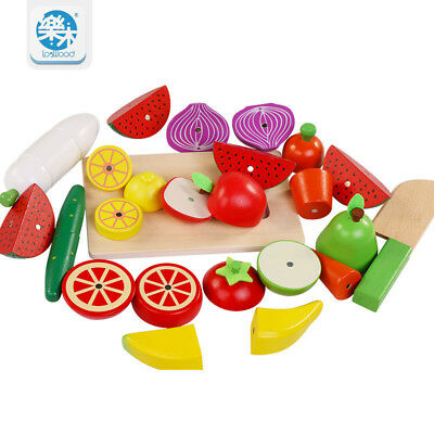 Wooden Kids toys simulation Cutting fruits and vegetables kitchen