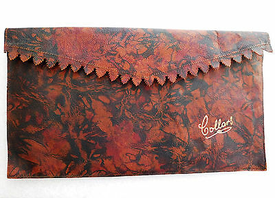 Soft collar case Art Deco 1930s wallet travel pouch Floral pattern burgundy