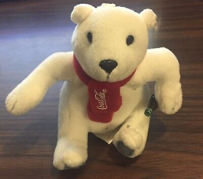 "Coca-Cola mini bean bag Plush Polar Bear - 4"" Christmas"
