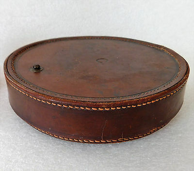 "Leather case for shaving mirror vintage Art Deco luggage strap missing 6"" wide"