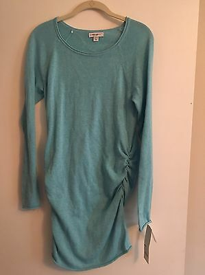 NWT LIZ LANGE MATERNITY Sweater MED Turquoise Lightweight Cotton Poly Ships Free
