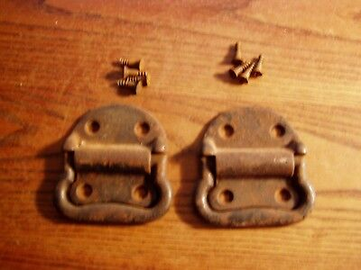 2 Tool Box  drop Handles Pulls old trunk with  screws rust patina lot B