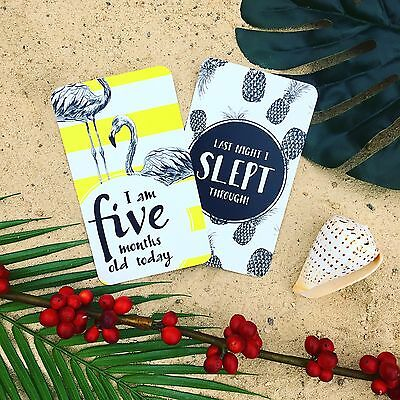 Baby Milestone Cards - Unisex | Tropical | 36 Card Boxed Set