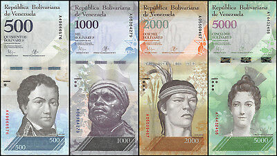 Venezuela 500 - 5,000 (5000) Bolivares X 4 Pieces (PCS) Set, 2016, P-NEW, UNC