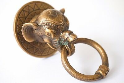 Elephant Head Metal Brass Door Knocker Vintage Antique Victorian Pull Knob Lion