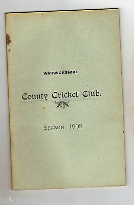 Original Warwickshire CCC Annual Report 1902 (Yearbook)