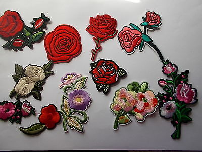 Pretty Embroidered Flower Patches, Rose etc Iron/Sew On Applique / patch