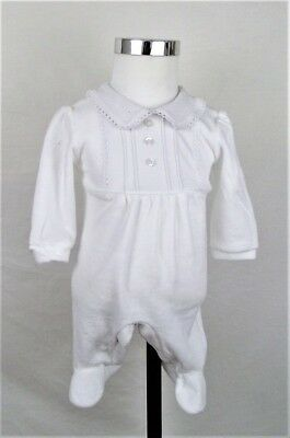 Baby boy Clothes Spanish Romany Style All in One white velour  Newborn -3 months
