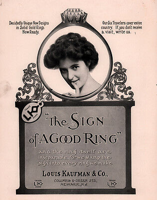 Early 1900 Ad Louis Kaufman Co Diamond Ring Large Format