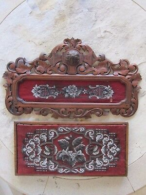 2 Embroidered Walnut Wall Plaques Victorian Beaded Needlework