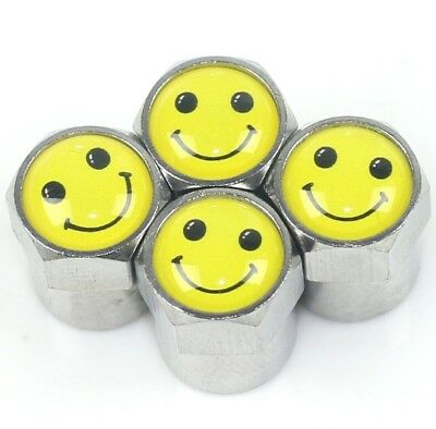 4 x Ventil Kappen mit Smiley Happy Logo - Valve Cap - Smiley Very Happy