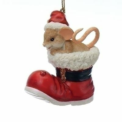 """2107  25th Anniversary Charming Tails Ornament 2.75"""" Mouse in Santa Boot Limited"""