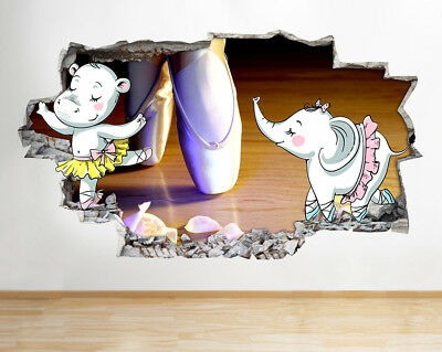 G574 Ballet Pumps Girls Animals Smashed Wall Decal 3D Art Stickers Vinyl Room