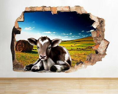 S257 Cow Cute Funny Tongue Animals Smashed Wall Decal 3D Art Stickers Vinyl Idea