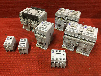 Lot of 7 Allen Bradley 100-C09*10 Contacts with 3 100-F Contact Blocks