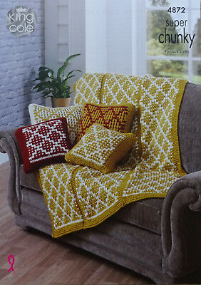 KNITTING PATTERN Cushion Covers & Throw/Blanket Super Chunky King Cole 4872