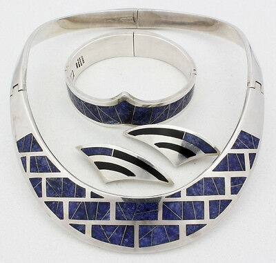 Vintage Sterling Silver & Lapis Mexican Modernist Jewelry Suite; Taxco; TT-18!!