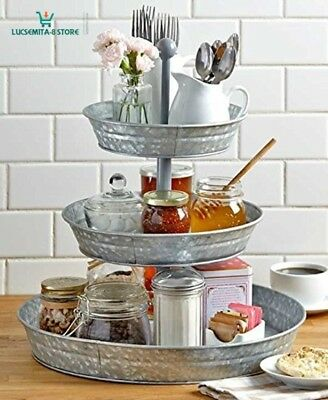 3-Tier Galvanized Serving Tray Indoor/Outdoor Food Condiments Party BBQ Kitchen