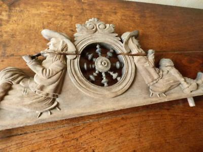 Antique Large French Hand Carved  Wooden Britain Pediment
