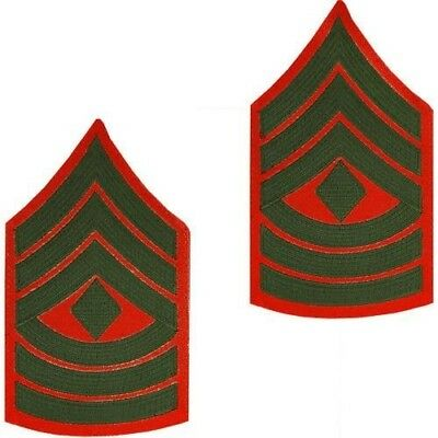 5403054ef1e USMC Marine Corps Chevrons Green on Red Official E-8 First Sergeant 1stSgt