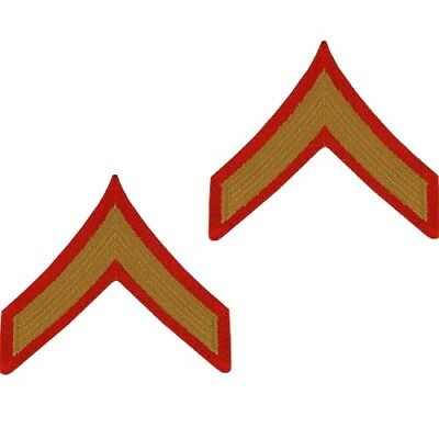 USMC Marine Corps Chevrons Gold on Red Official E-2 Private First Class PFC