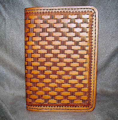 New Acorn Brown Cowhide Leather Passport Case W/basket Weave Design