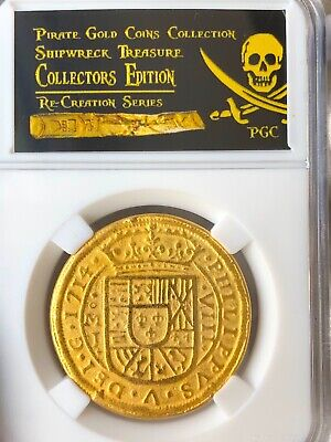 Mexico 1714 Royal 8 Escudos Gold Plt  Pendant Doubloon Cob Shipwreck 1715 Fleet