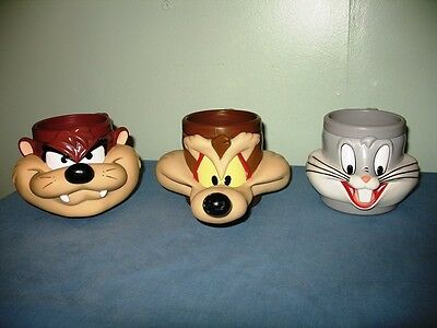 Lot Of 3-Vtg. 1992-93 Looney Tunes/warner Bros.3D Cups-Bugs, Taz & Wile Coyote!