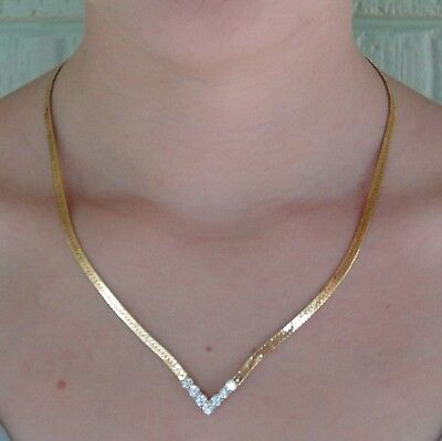 Vintage Gold Plated Rhinestone Faux Diamond Herringbone Chain Necklace