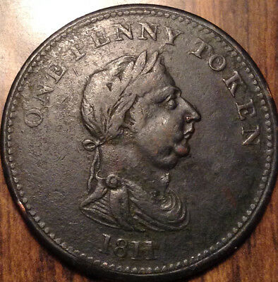 1811 Uk Gb Great Britain One Penny Token In Beautiful Condition !