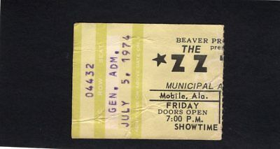 Original 1974 ZZ Top concert ticket stub Mobile Alabama Tres Hombres