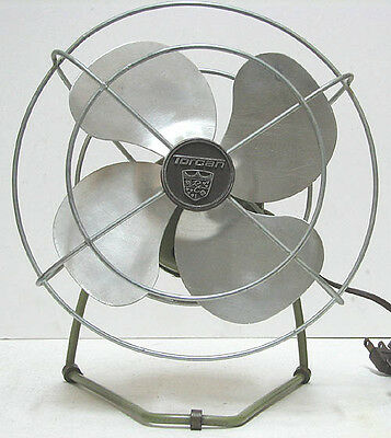 "vintage Torcan 8"" Electric AC Fan All Metal Works Perfectly Great"