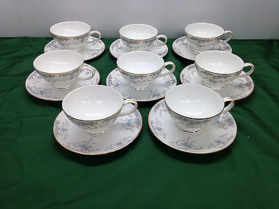 8 Imperial China Cups & Saucers #5303 Seville W. Dalton Blue Rose Gold Trim