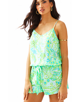 c713fab567f5 Lilly Pulitzer Deanna Romper Pool Blue Any Fins Possible Size XL NWT