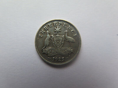 1925 Die Crack Variety Australian Silver Threepence King George V Scarce