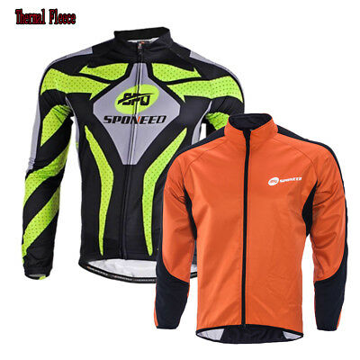Mens Fleece Jersey Winter Warm Cycling Jacket Windproof Biking Clothing Tops