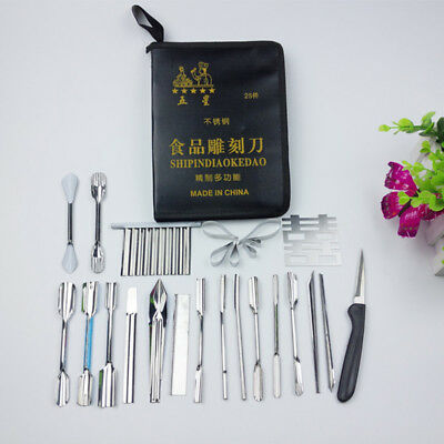 25pcs Vegetable Fruit food Carving Tools Set Engraving Chef knives Kit With Case