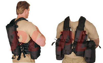 DURBAN Tactical Assault Vest Hydration Magazine Pouch PaintBall Hunting - Black