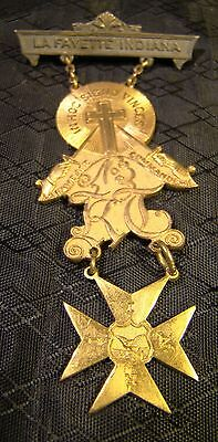 Vintage Knights Templar Masonic In Hoc Signo Vinces Lafayette IN Commandery Pin