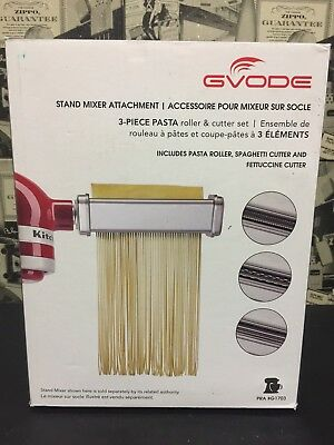 Gvode Kitchen 3-Piece Pasta Roller and Cutter Set for Kitchen Aid Stand Mixers
