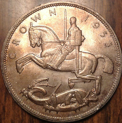 1935 Uk Gb Great Britain Silver Crown Toned And Very Near Unc If Not