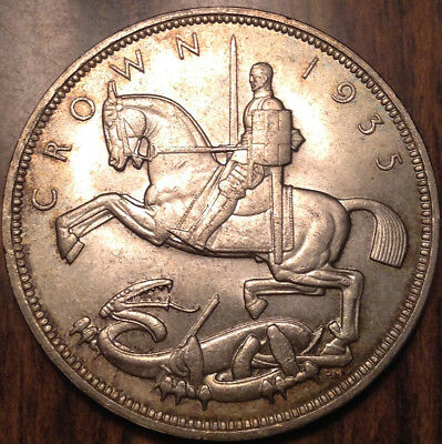 1935 Uk Gb Great Britain Silver Crown Uncirculated