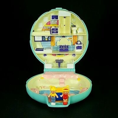 *Complete* POLLY POCKET 1989 Beach House VARIATION Vintage w/Gold Logo Visible
