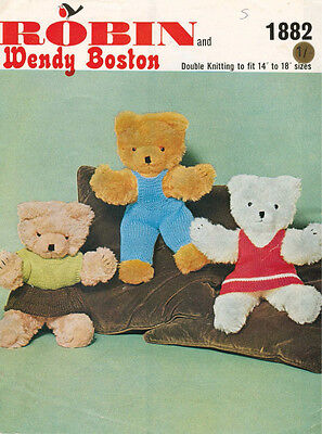 """VINTAGE KNITTING PATTERN COPY FOR TEDDY'S  OUTFITS- 1960's- FIT 14-18""""  TEDDIES"""