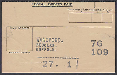 Postal Orders Paid vintage Summary Form; Wangford, Beccles, Suffolk; unusual