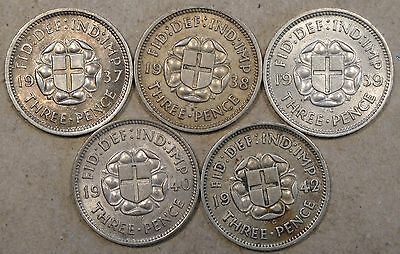 Great Britain Silver 3 Pence 1937,38,39,40,+42 Mid Grade and Up!